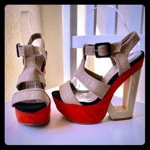 Qupid 3 tone faux suede sandals